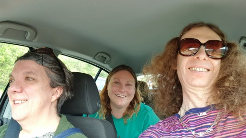 Jo, Kiri and tonieee on the way to Wales Goes Pop 2019